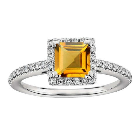 Sterling Silver with Natural Citrine and White Zircon Halo Ring