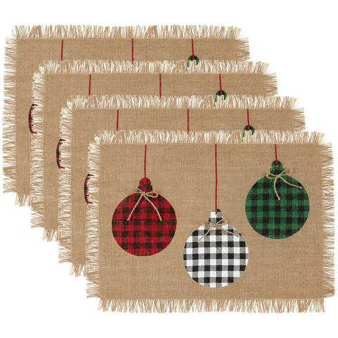 """Farmhouse Living Holiday Rustic Ornaments Burlap Placemat, Set of 4 - 13""""x19"""""""