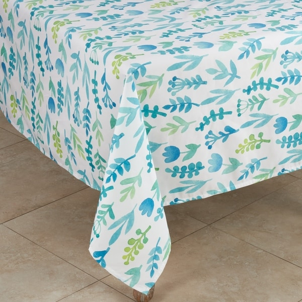 Round Tablecloth Watercolor Floral Ditsy Flowers Garden Botanical Cotton Sateen