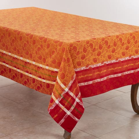 Jacquard Tablecloth with Pumpkin and Leaf Design