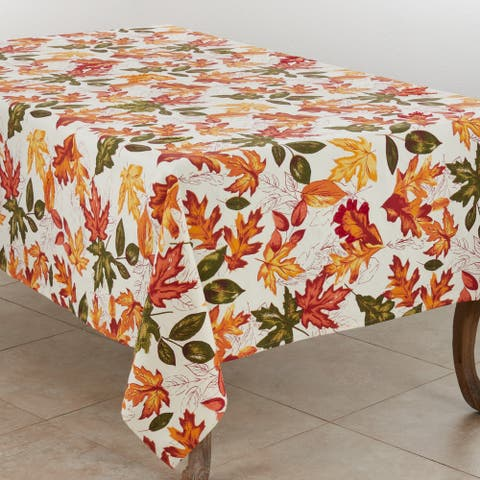Cotton Tablecloth With Embroidered Autumn Leaves