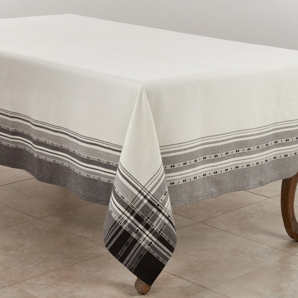 Cotton Tablecloth With Plaid Border Design