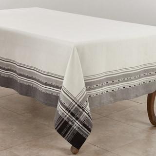 Cotton Tablecloth With Plaid Border Design