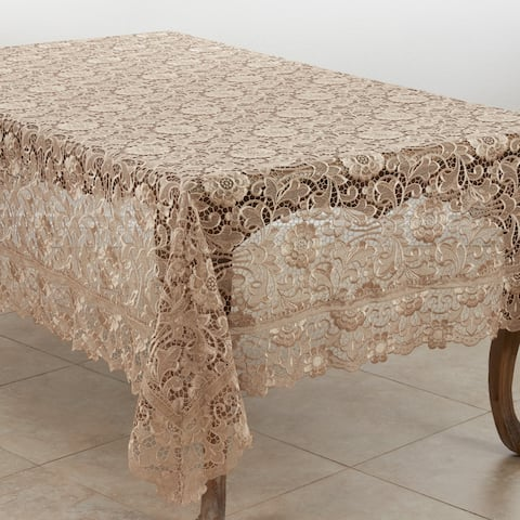 Vintage Lace Tablecloth with Floral Design