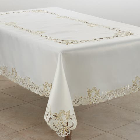 Embroidered Tablecloth With Cupid Design