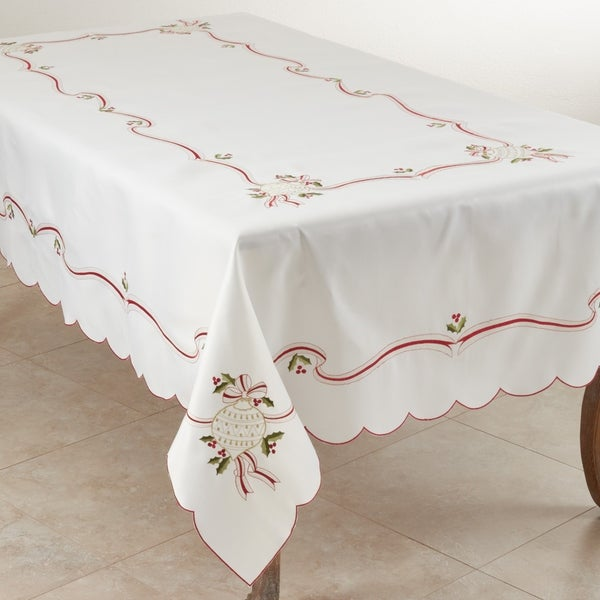 Christmas Tablecloth with Embroidered Design. Opens flyout.