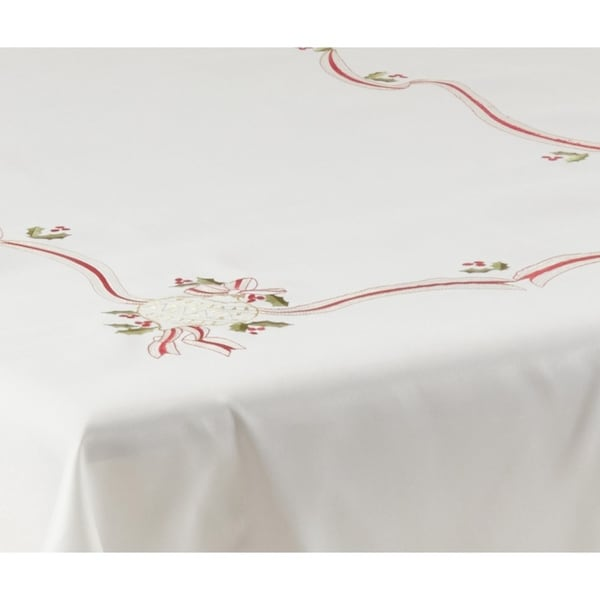 Christmas Tablecloth with Embroidered Design