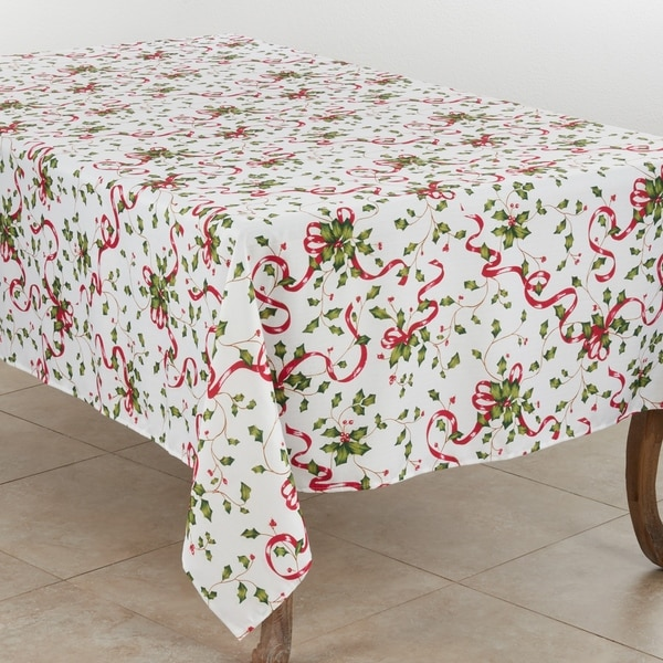 Holiday Tablecloth With Holly and Ribbon Design