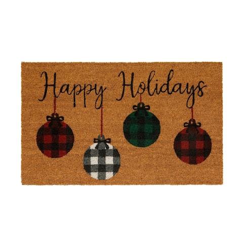 Farmhouse Living Holiday Rustic Ornaments Coir Door Mat
