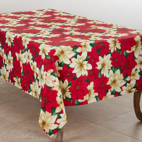 Holiday Tablecloth With Poinsettia Design
