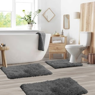 Porch & Den Lorena Shaggy/ Non-slip Rubber Backed 3-piece Bath Rug Set