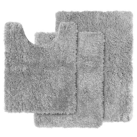 Clara Clark Shaggy Bath Rug with Non-Slip Backing Rubber - 3 Piece Set