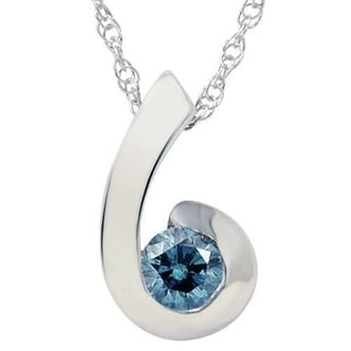 1 4ct Blue Diamond Solitaire Pendant 14K White Gold