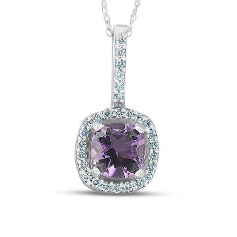 2 1/5 ct Cushion Amethyst Halo Real Diamond Pendant 14K White Gold