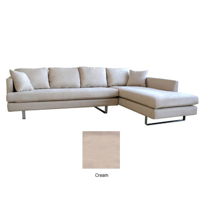 Beatrice Cream Microfiber Sofa With Chaise Set Free