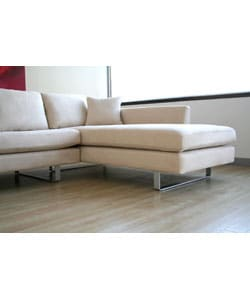 Beatrice Cream Microfiber Sofa with Chaise Set - Thumbnail 1