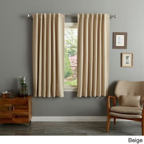 Aurora Home Solid Insulated Thermal 63-inch Blackout Curtain Panel Pair