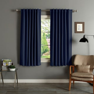 Aurora Home Solid Insulated Thermal 63 Inch Blackout Curtain Panel Pair