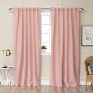 Aurora Home Star Struck 84L Insulated Thermal Blackout Curtain Pair - 52 x 84 (dusty pink)