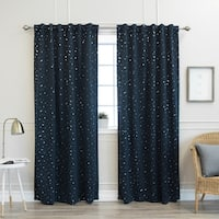 "Aurora Home Star Struck 84""L Insulated Thermal Blackout Curtain Pair - 52 x 84"
