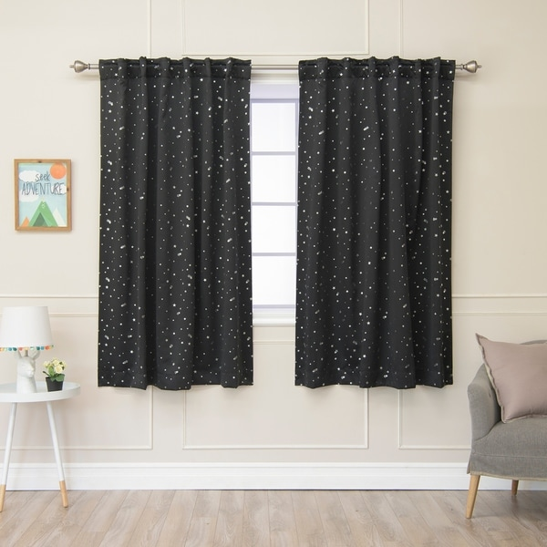 Aurora Home Star Struck Insulated Thermal Blackout 63 Inch Curtain Panel Pair