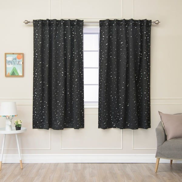 Aurora Home Star Struck Insulated Thermal Blackout 63-inch Curtain Panel Pair - 52 x 63