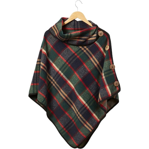 Tickled Pink Patrick Plaid Button Poncho