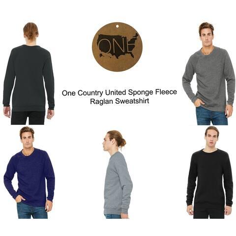 One Country United Men's Sponge Fleece Raglan Sweatshirt.