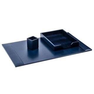 Navy Blue Bonded Leather 3-Piece Desk Set