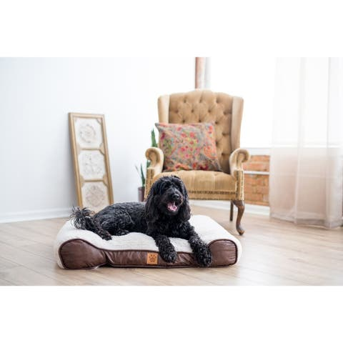 Snoozzy Rustic Luxury Shredded Orthopedic Sleigh Dog Bed - 36 X 27 X 6