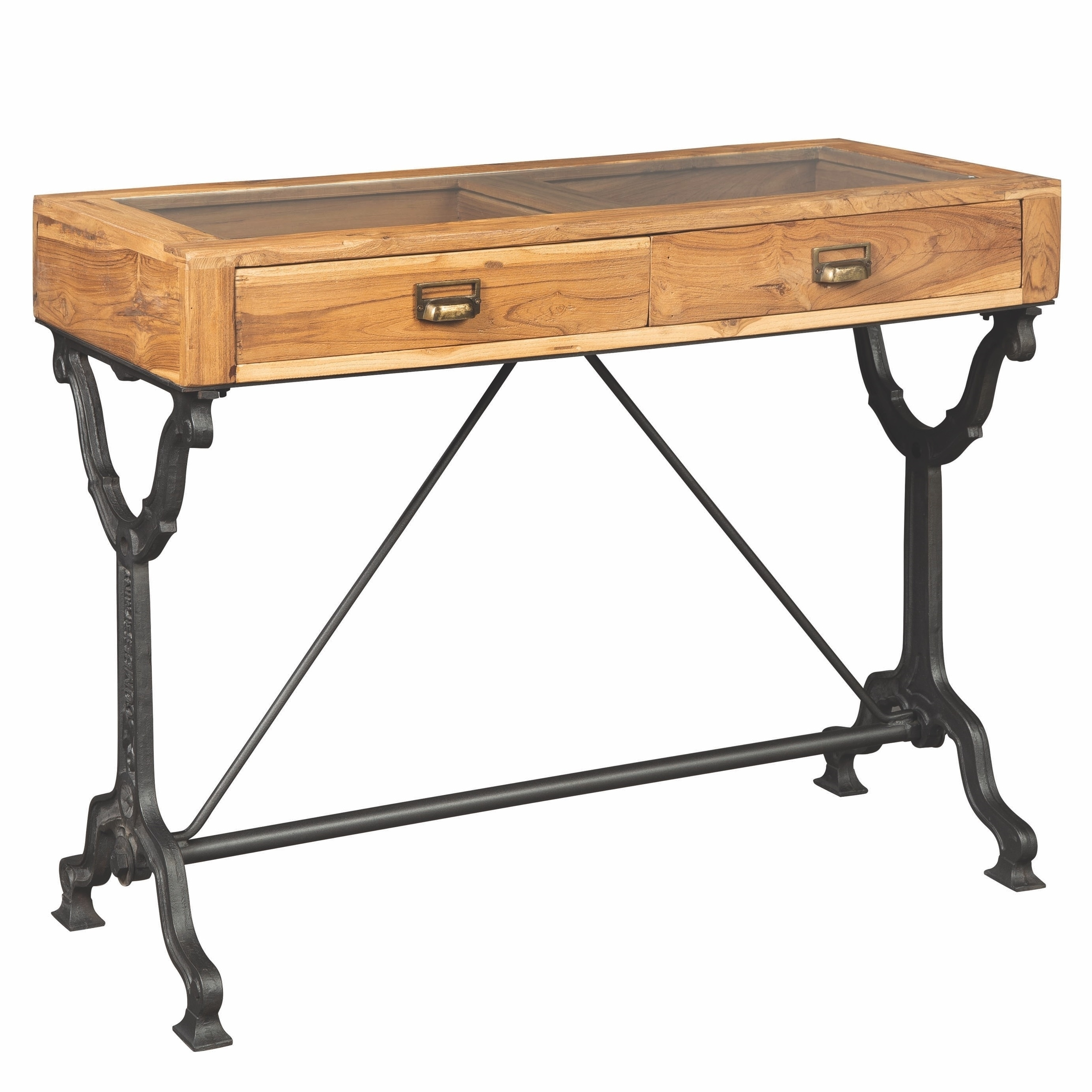 Hand Crafted Solid Teak Wood Industrial Design Console Table With Displaying Glass Top On Sale Overstock 29473564