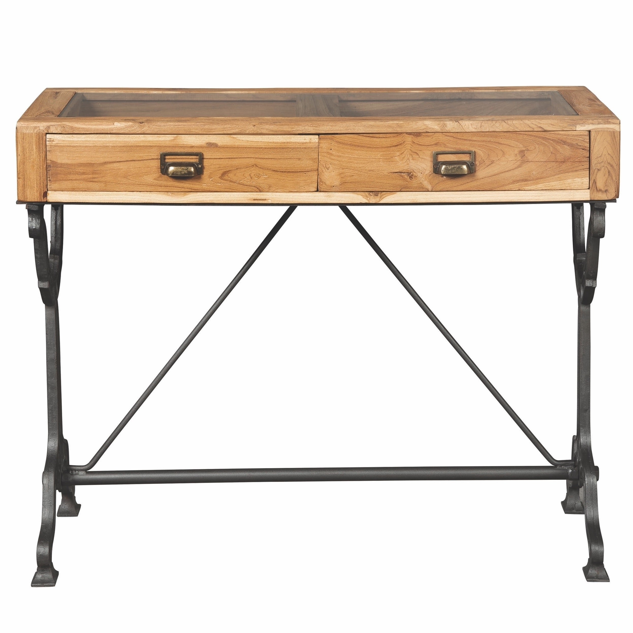 Picture of: Hand Crafted Solid Teak Wood Industrial Design Console Table With Displaying Glass Top On Sale Overstock 29473564