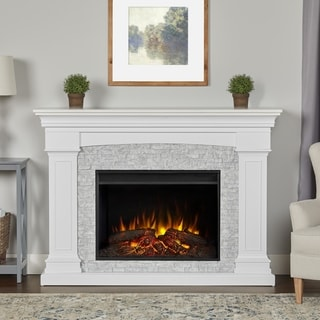 Deland Grand Electric Fireplace in White