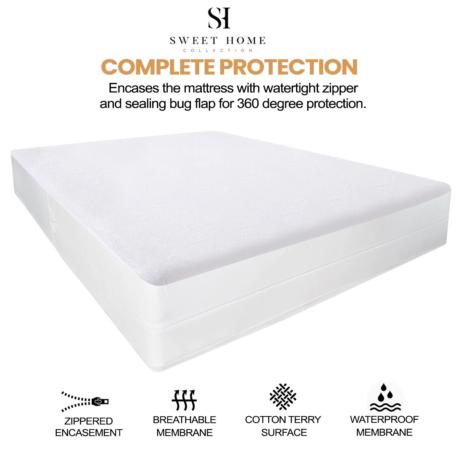 Full WOWCUTE Waterproof Mattress Protector Cotton Terry Fitted Deep Pocket Bed Bug Proof Vinyl Free