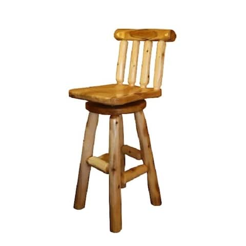 White Cedar Log Swivel Stool with Spindle back