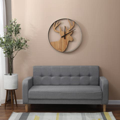 Wood and Metal Deer Lodge Wall Clock