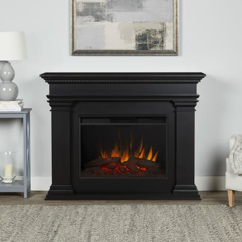 Antero Grand Electric Fireplace in Black