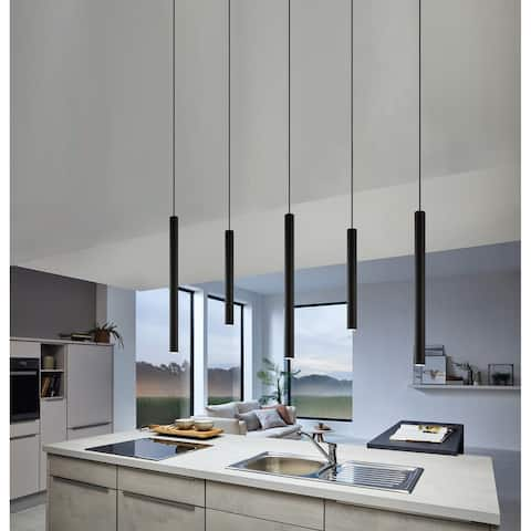 Eglo Tortoreto 15.75-inch LED Single Tube Pendant with Matte Black Finish