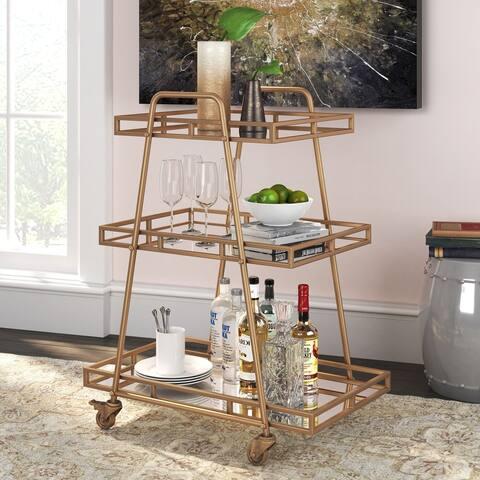 Adore Decor Addison Bar Cart, Antique Gold