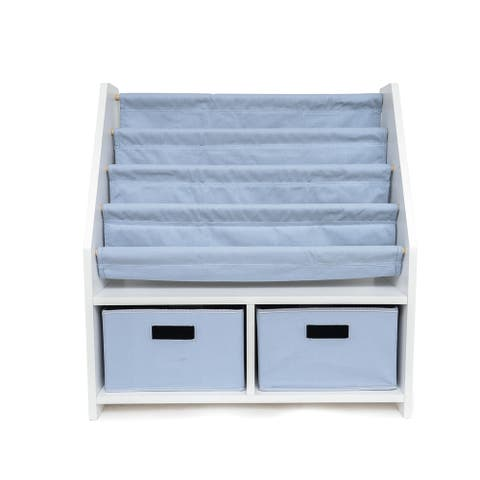 WONKAWOO Deluxe Children's Sling Bookshelf - White/Blue