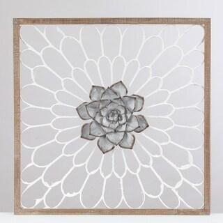 Wood Framed Metal Flower Wall Decor