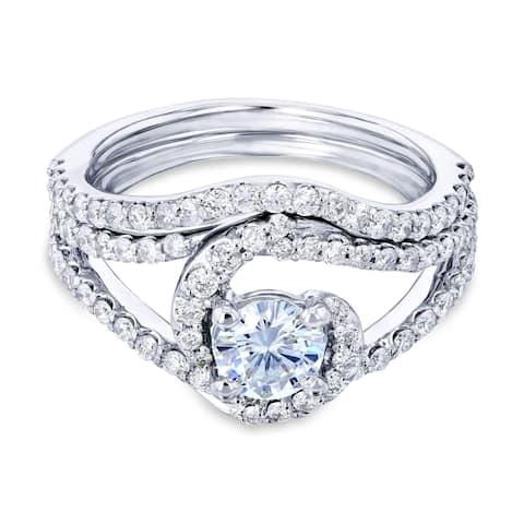 Annello by Kobelli 14k White Gold 1 1/5ct TGW Lab Moissanite and Natural Diamond Bypass Twist Curved Bridal Set (FG/VS, GH/I)
