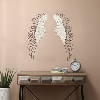 Link to Carbon Loft 2-piece Wood and Metal Angel Wing Wall Decor Similar Items in Wall Sculptures