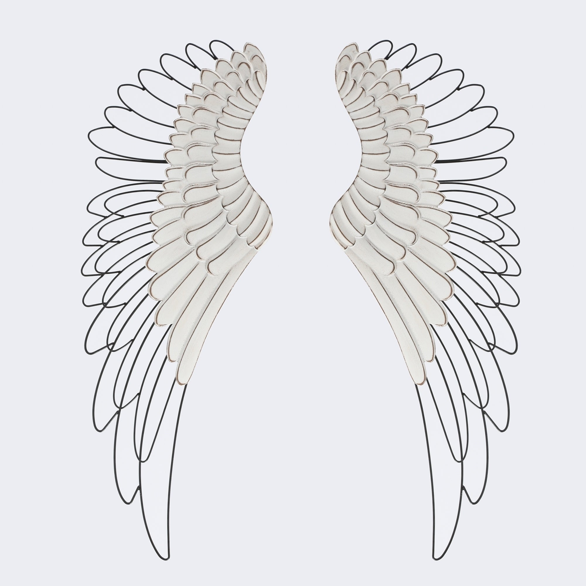 2pc Wood And Metal Angel Wings Wall Decor