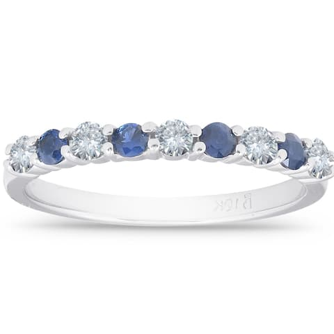 1/2CT Blue Sapphire & Diamond Wedding Ring 10K White Gold