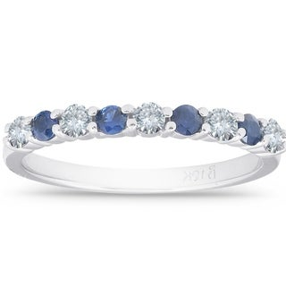 Link to 1/2CT Blue Sapphire & Diamond Wedding Ring 10K White Gold Similar Items in Wedding Rings