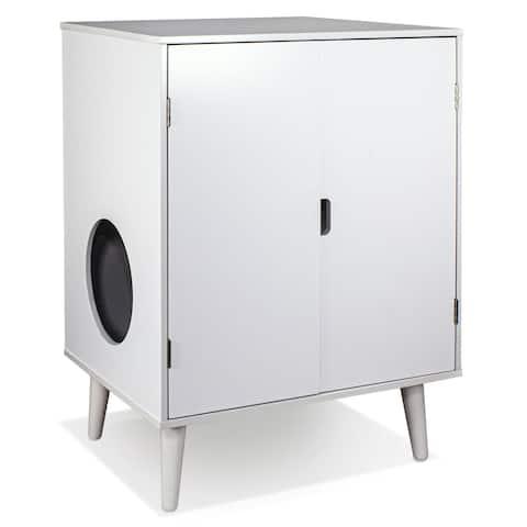 Penn-Plax Cat Walk Furniture: Contemporary Home Cat Litter Hide-Away Cabinet  All White
