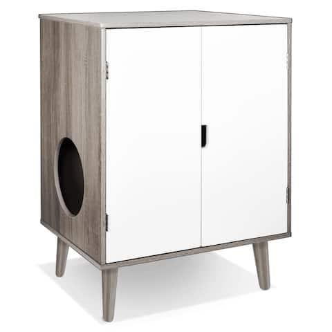 Penn Plax CatWalk Privacy Please Litter Cabinet (Grey Wood Grain)