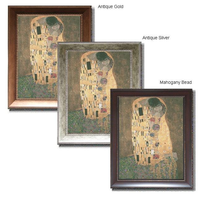 gustav klimt 39 the kiss 39 extra large framed canvas art. Black Bedroom Furniture Sets. Home Design Ideas