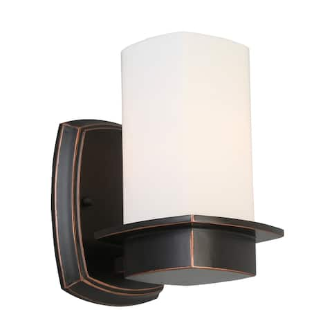 Eglo Vlacker Wall Light with Oil-Rubbed Bronze Finish & Frosted Opal Glass